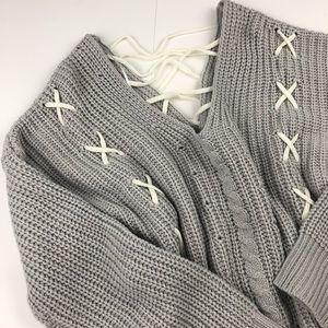 Magnolia South Lace Up Back V Neck Chunky Sweater eecf304c5